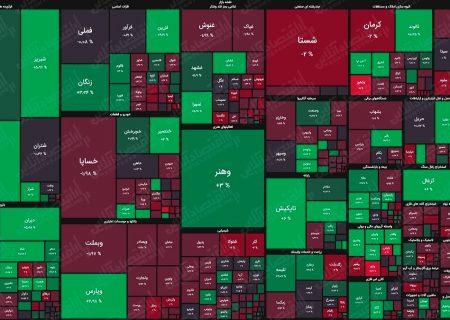 نقشه بورس بر اساس ارزش معاملات/ افت نامحسوس شاخص کل بورس