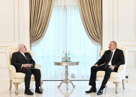 دیدار رئیسجمهور آذربایجان با ظریف در شهر قَبَله