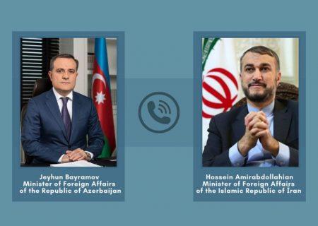 جیحون بایراموف وزیر امورخارجه آذربایجان تلفنی با حسین امیرعبداللهیان وزیر امور خارجه جدید ایران گفتگو کرد