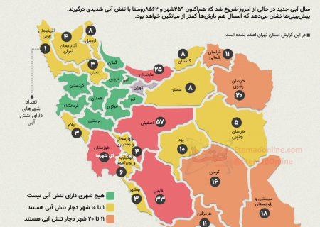 اینفوگرافی  کدام استانها بیشترین شهرهای دارای تنش آبی را دارند؟